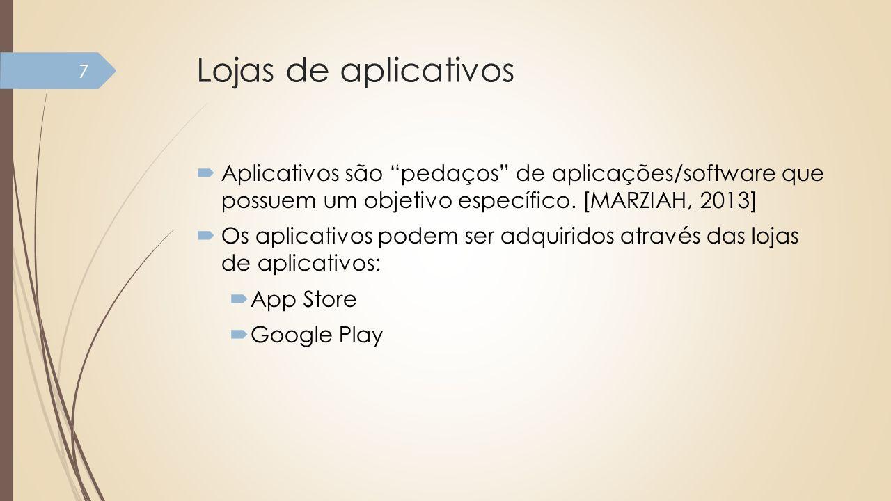 Lojas de aplicativos Aplicativos são pedaços de aplicações/software que possuem um objetivo específico. [MARZIAH, 2013]